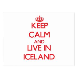 Guarde la calma y viva en Islandia Tarjeta Postal