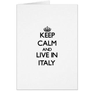 Guarde la calma y viva en Italia Tarjetón