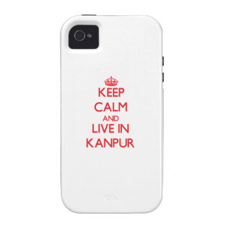 Guarde la calma y viva en Kanpur iPhone 4 Funda