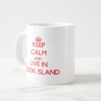 Guarde la calma y viva en la isla de cocinero tazas jumbo