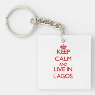 Guarde la calma y viva en Lagos Llavero Cuadrado Acrílico A Doble Cara