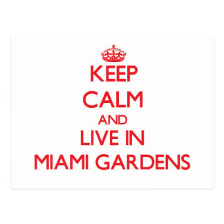 Guarde la calma y viva en los jardines de Miami Postal