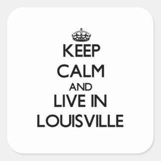 Guarde la calma y viva en Louisville Calcomanías Cuadradass Personalizadas