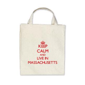 Guarde la calma y viva en Massachusetts Bolsa De Mano