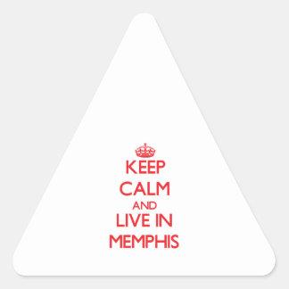 Guarde la calma y viva en Memphis Pegatina De Trianguladas