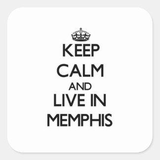 Guarde la calma y viva en Memphis Calcomanía Cuadrada