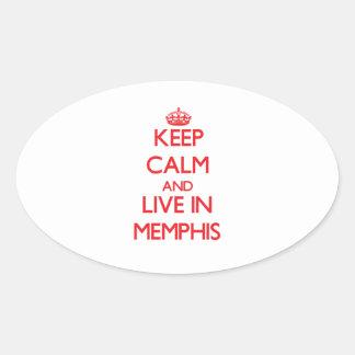 Guarde la calma y viva en Memphis Pegatinas De Oval Personalizadas