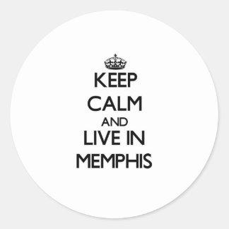 Guarde la calma y viva en Memphis Pegatina Redonda