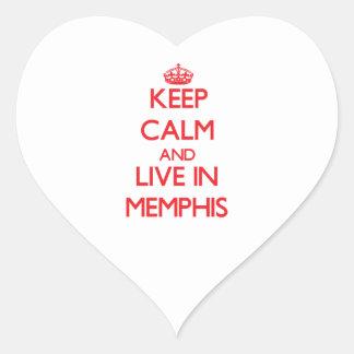 Guarde la calma y viva en Memphis Calcomania Corazon