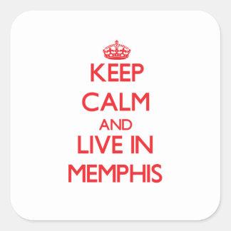 Guarde la calma y viva en Memphis Pegatinas Cuadradases Personalizadas