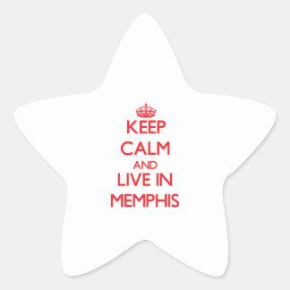 Guarde la calma y viva en Memphis Calcomanías Forma De Estrellaes