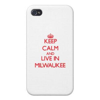 Guarde la calma y viva en Milwaukee iPhone 4/4S Carcasas