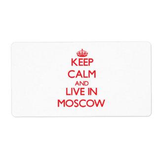 Guarde la calma y viva en Moscú Etiquetas De Envío