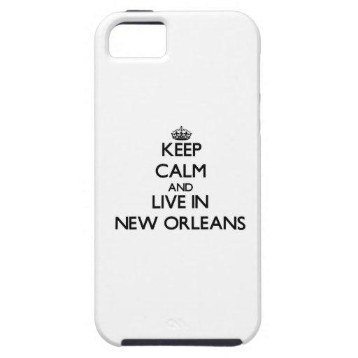 Guarde la calma y viva en New Orleans iPhone 5 Case-Mate Protector