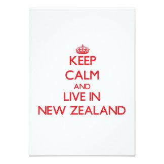 Guarde la calma y viva en Nueva Zelanda Invitación 12,7 X 17,8 Cm