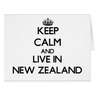 Guarde la calma y viva en Nueva Zelanda Tarjetón