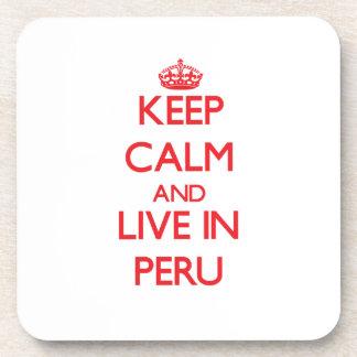 Guarde la calma y viva en Perú Posavasos