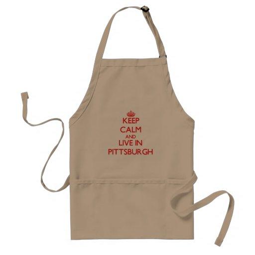 Guarde la calma y viva en Pittsburgh Delantales