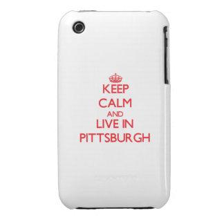 Guarde la calma y viva en Pittsburgh iPhone 3 Protectores