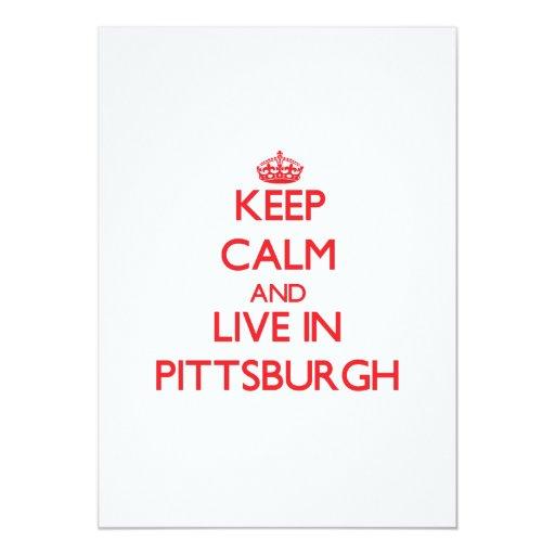 """Guarde la calma y viva en Pittsburgh Invitación 5"""" X 7"""""""