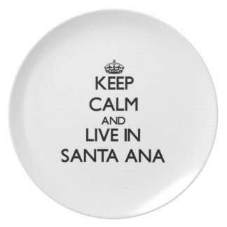 Guarde la calma y viva en Santa Ana Plato Para Fiesta
