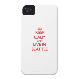 Guarde la calma y viva en Seattle Case-Mate iPhone 4 Protectores