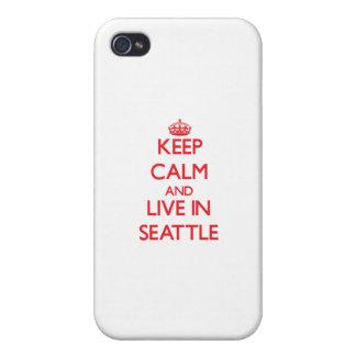 Guarde la calma y viva en Seattle iPhone 4 Protectores