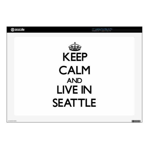 Guarde la calma y viva en Seattle Portátil Calcomanías