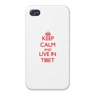 Guarde la calma y viva en Tíbet iPhone 4 Protector