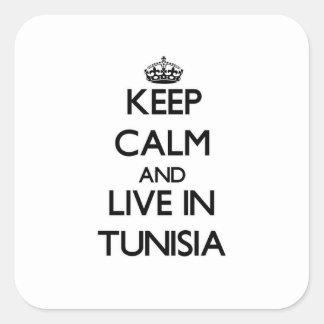 Guarde la calma y viva en Túnez Pegatinas