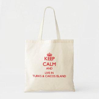 Guarde la calma y viva en turcos y la isla de bolsa tela barata