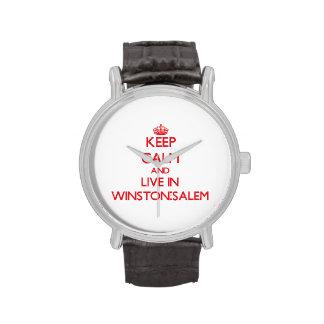 Guarde la calma y viva en Winston-Salem Relojes De Pulsera
