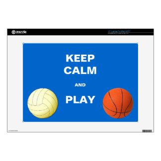 Guarde la calma y voleibol y baloncesto del juego portátil 38,1cm skins
