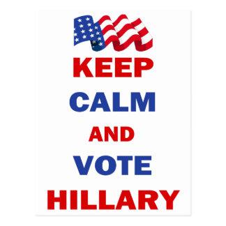 Guarde la calma y vote a Hillary Postal