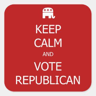 Guarde la calma y vote a los pegatinas pegatina cuadrada