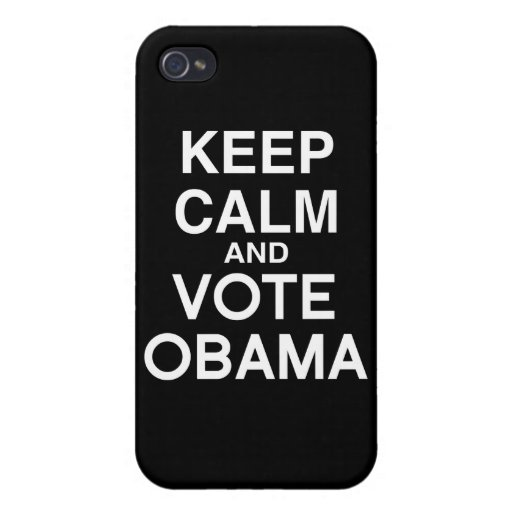 GUARDE LA CALMA Y VOTE A OBAMA iPhone 4 FUNDAS