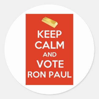 Guarde la calma y vote a Ron Paul - patrón oro Pegatina Redonda