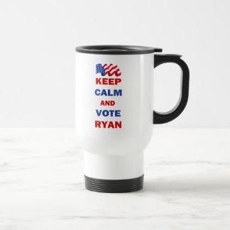 Guarde la calma y vote a Ryan Taza De Viaje
