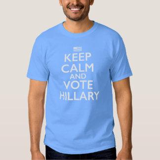 Guarde la calma y vote al presidente de Hillary Playeras