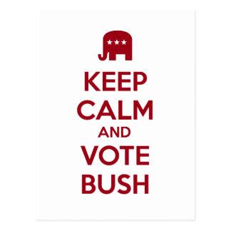 Guarde la calma y vote Bush Tarjetas Postales