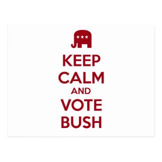 Guarde la calma y vote Bush Tarjeta Postal