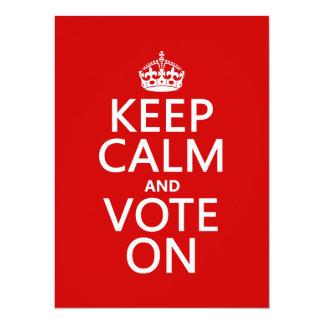 """Guarde la calma y vote encendido invitación 5.5"""" x 7.5"""""""