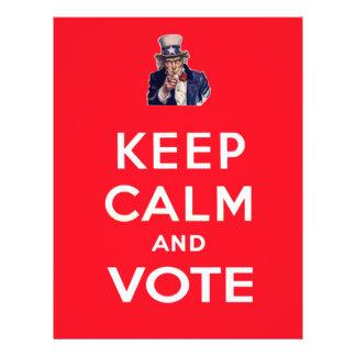 "Guarde la calma y vote folleto 8.5"" x 11"""