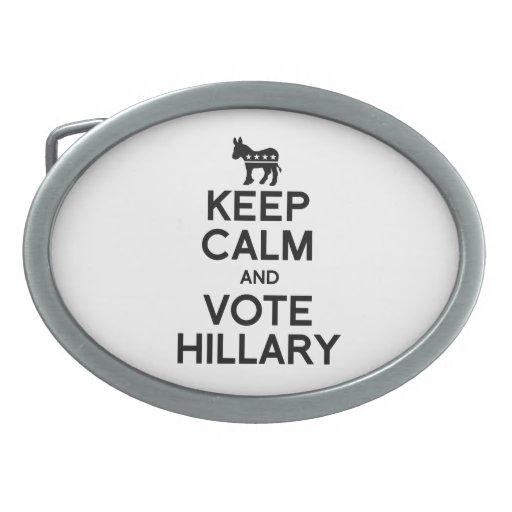 GUARDE la CALMA Y VOTE HILLARY.png Hebilla De Cinturón