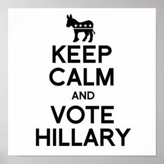 GUARDE la CALMA Y VOTE HILLARY.png Impresiones
