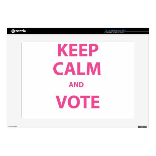 ¡Guarde la calma y vote! Portátil Calcomanía
