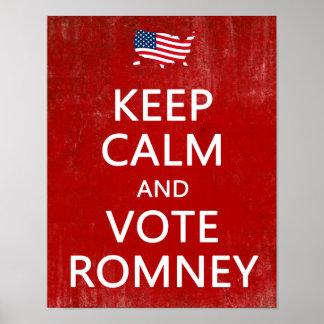 Guarde la calma y vote Romney Impresiones