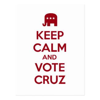 Guarde la calma y vote Ted Cruz Postal