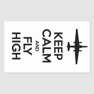 Guarde la calma y vuele alto U-2 Pegatina Rectangular