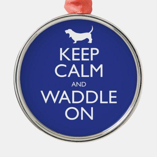 Guarde la calma y Waddle encendido Ornamento Para Arbol De Navidad